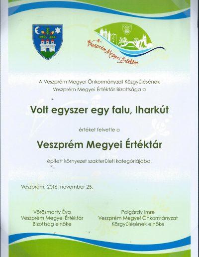 Iharkút a Veszprém Megyei Értéktárban