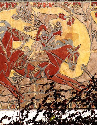 Nagy Sándor: A csodaszarvas üldözése (sgraffito, azaz vakolat visszakaparása) Veszprém Színház