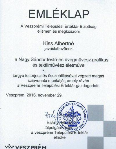 Nagy Sándor a Veszprém Városi értéktárban