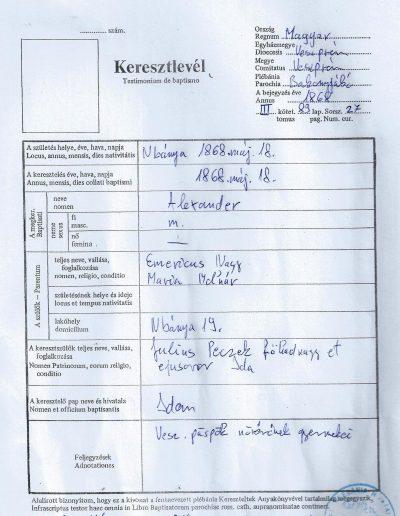 Nagy Sándor születési anyakönyvi kivonata