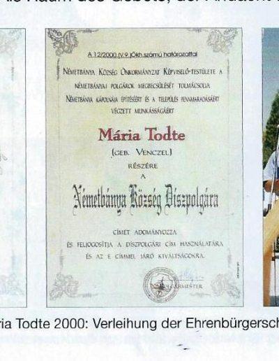 Maria kitűntetése Németbányán díszpolgári címmel 2000ben